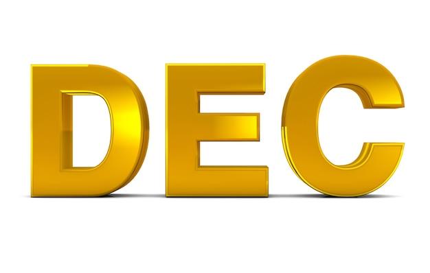 Dicembre oro 3d testo dicembre mese abbreviazione isolato su sfondo bianco. rendering 3d.