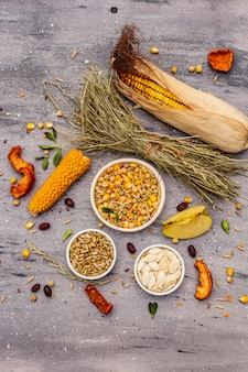 Dieta equilibrata per roditori domestici. mix assortito di cereali e semi, erbe secche, frutta fresca