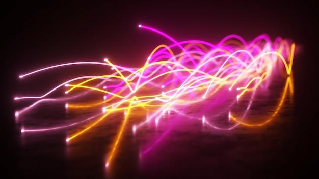 Diffusione di fili in fibra al neon blu e viola nello spazio