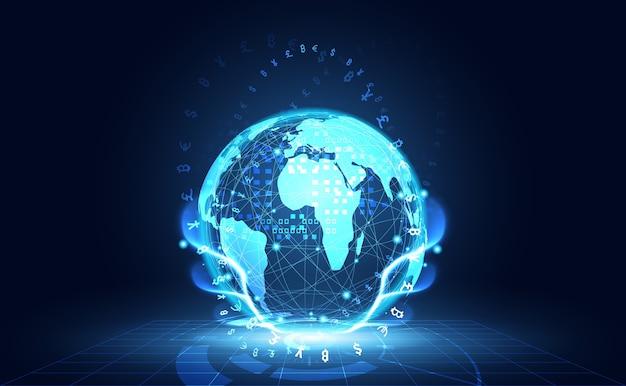 Digitale globale di tecnologia di cryptocurrency dei grandi dati astratti