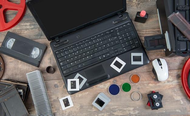 Digitalizzazione di vecchi diapositive da 35 mm con laptop