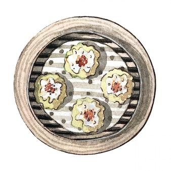 Dim sum asiatico dell'alimento dell'acquerello, mai di siew, vista superiore
