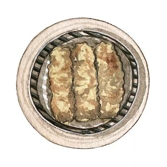 Dim sum asiatico dell'alimento dell'acquerello, vista superiore
