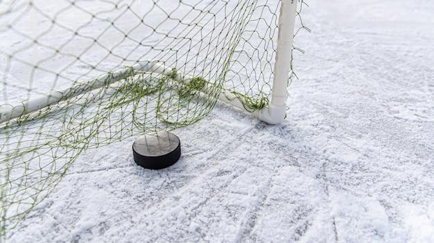 Disco da hockey nel primo piano della rete