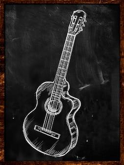 Disegno acustico classico della chitarra sulla musica della lavagna