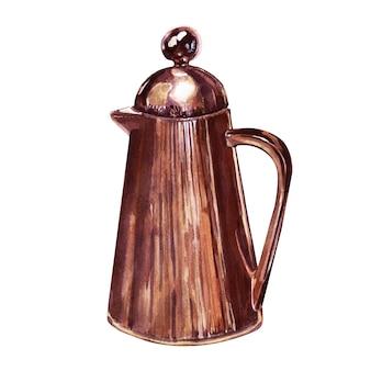 Disegno ad acquerello con attributi di caffè. caffettiera