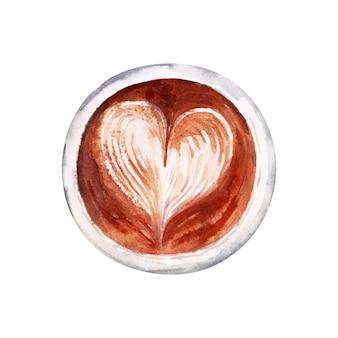 Disegno ad acquerello con attributi di caffè. cappuccino