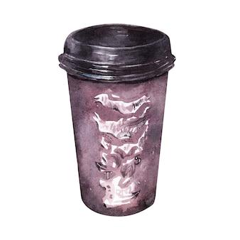 Disegno ad acquerello con attributi di caffè. tazza