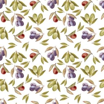 Disegno ad acquerello modello senza cuciture con foglie, frutta e olio d'oliva. olio ed erbe aromatiche