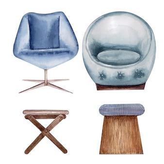 Disegno ad acquerello set di sedie e panche imbottite. elemento interno
