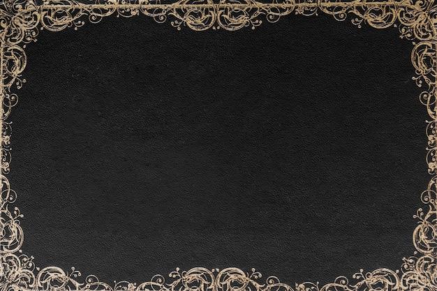 Disegno del bordo ornato su sfondo nero per carta