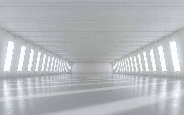 Disegno interno del corridoio illuminato vuoto astratto. rendering 3d.