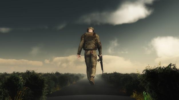 Disegno soldato a piedi