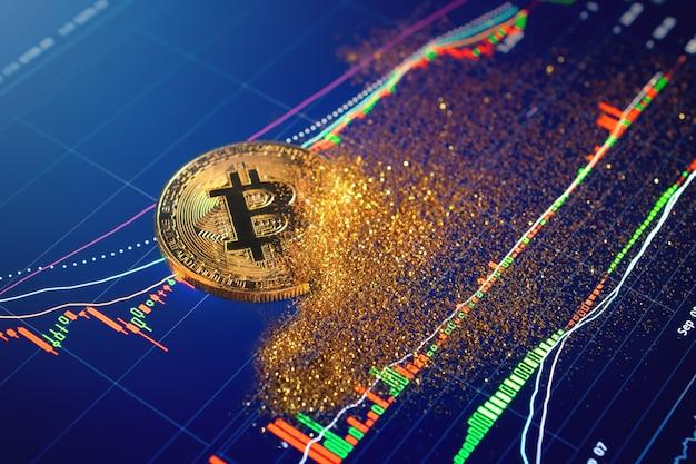 Disintegrazione di particelle di bitcoin, concetto di collasso di bitcoin