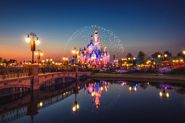 Disney lighting fireworks nightscape