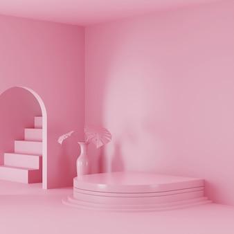 Display a podio con scena di colore rosa per la visualizzazione del prodotto. foto di rendering 3d