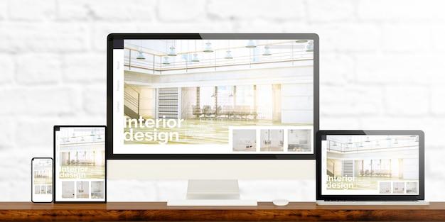 Dispositivi interni reattivi su desktop in legno