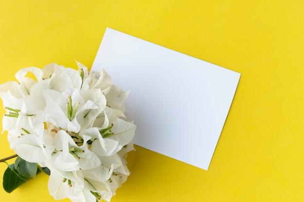 Disposizione creativa con il fiore bianco e la cartolina d'auguri vuota su fondo giallo.