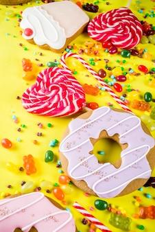 Disposizione creativa dei dolci, concetto del dessert