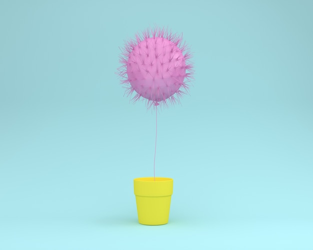 Disposizione creativa del rosa del cactus che galleggia con il vaso di fiore su fondo blu
