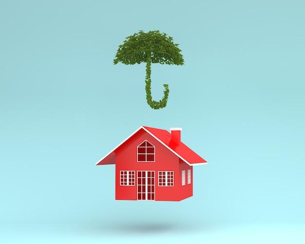 Disposizione creativa della casa rossa con l'ombrello della pianta che galleggia su fondo blu