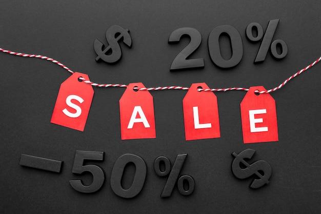 Disposizione degli elementi di vendita del venerdì nero vista dall'alto