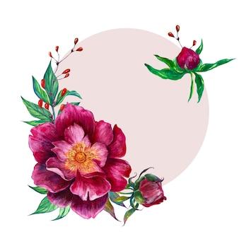 Disposizione dei fiori dell'acquerello - cornice ovale