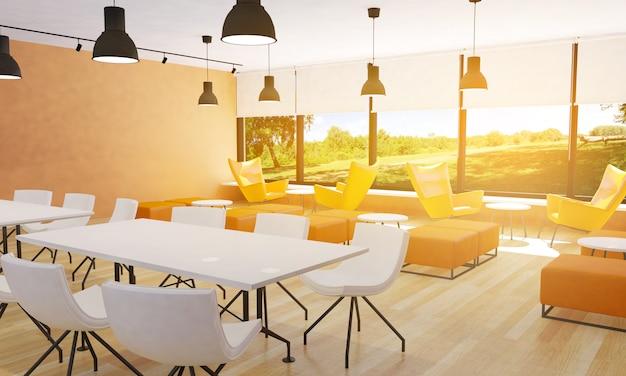 Disposizione dei posti a sedere nell'interno moderno del ristorante, rappresentazione 3d