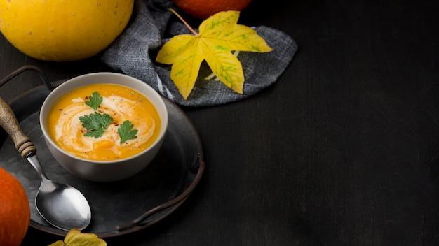 Disposizione deliziosa della minestra di autunno con lo spazio della copia