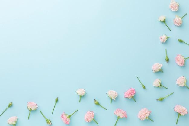 Disposizione della cornice di piccole rose con spazio di copia