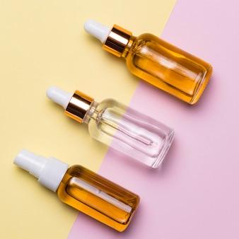 Disposizione delle bottiglie di siero vista dall'alto
