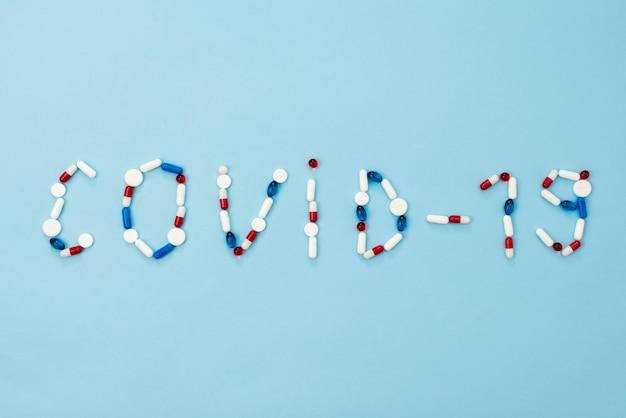 Disposizione delle pillole covid10 vista dall'alto