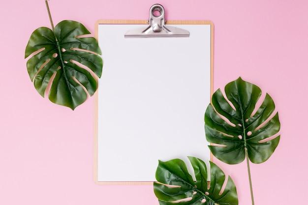 Disposizione di fogliame e appunti in bianco