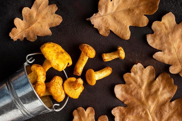 Disposizione di funghi al forno e foglie secche