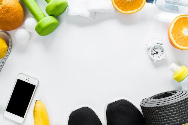 Disposizione di oggetti di stile di vita sano