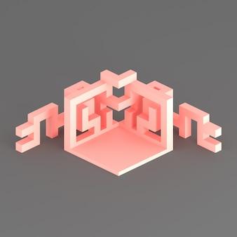 Disposizione isometrica astratta di un cubo in espansione