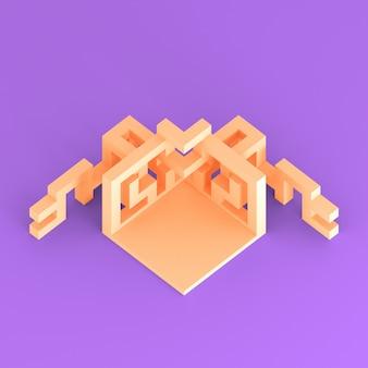 Disposizione isometrica astratta di un'illustrazione espandentesi del cubo 3d