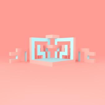 Disposizione isometrica astratta di un'illustrazione in espansione del cubo 3d