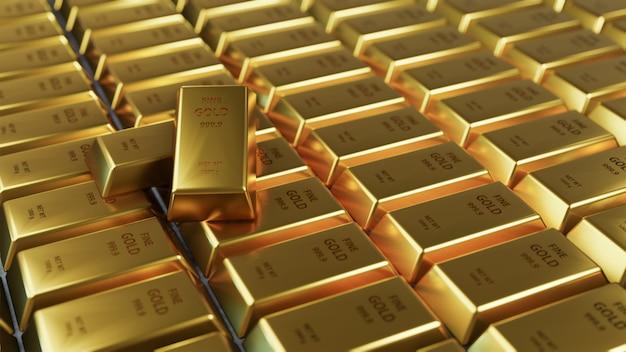 Disposizione lucida della barra di oro del primo piano in una fila.