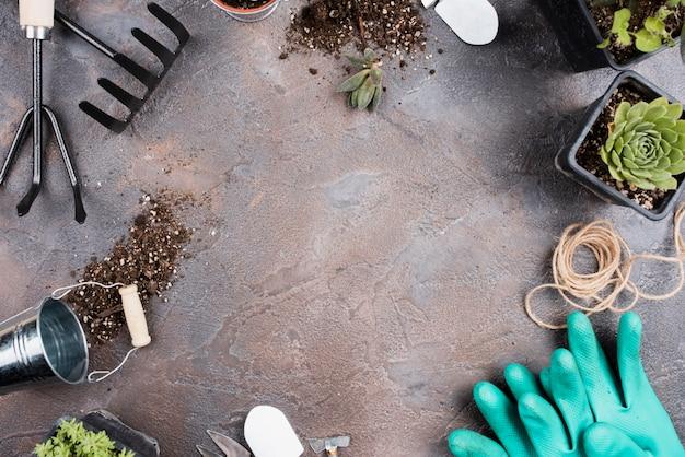 Disposizione piana degli strumenti di giardinaggio con lo spazio della copia