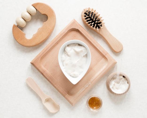 Disposizione piana del concetto di cosmetici naturali