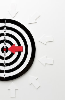 Disposizione piana dell'obiettivo con le frecce che indicano al centro