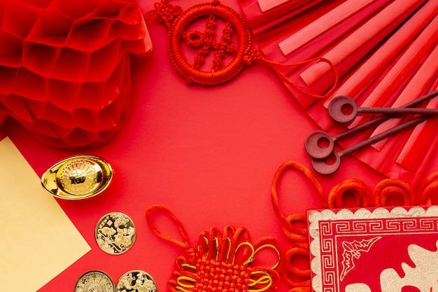 Disposizione piana della lanterna e del fan nuovo anno cinese