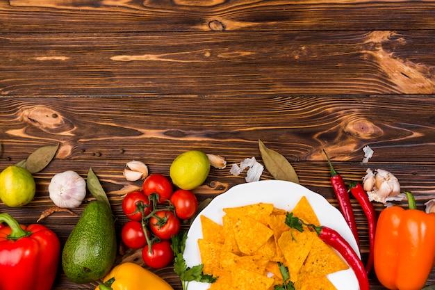 Disposizione piana di alimento messicano con copyspace