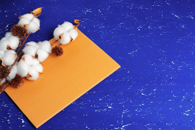 Disposizione piana di fondo blu femminile con il ramo del fiore di cotone artificiale