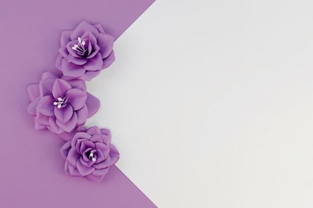 Disposizione vista dall'alto con piccoli fiori viola