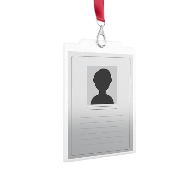 Distintivo di identificazione di plastica bianca 3d con cordino