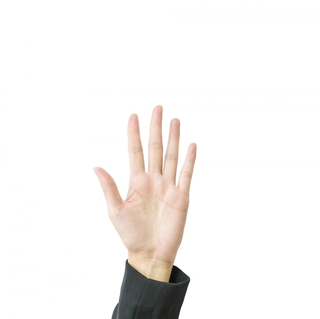 Dito di manifestazione cinque della mano della donna del primo piano isolato su fondo bianco