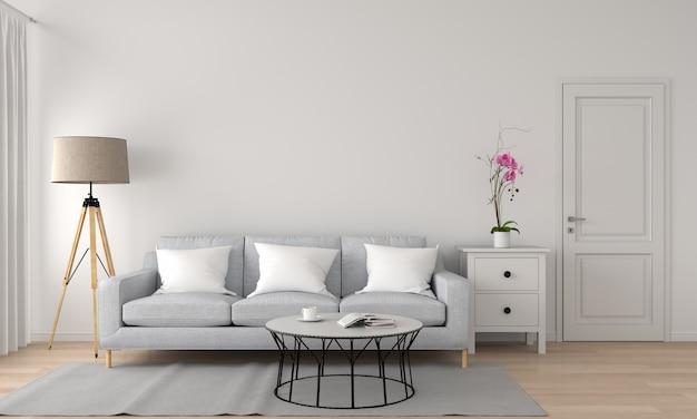 Divano e lampada in salotto rendering 3d