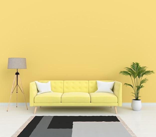 Divano giallo e lampada nel soggiorno
